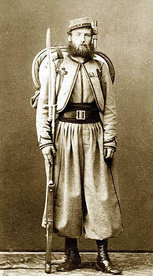 Myles William Patrick O'Reilly - Pontifical Zouave of Major O'Reilly's Papal Battalion, carrying a .71 cal. Model 1842 French smoothbore Rifle