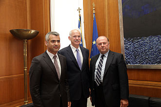 Albania–Greece relations - Greek PM Papandreou meets Unity for Human Rights Party leader Vangjel Dule and Omonoia leader Vasil Bollano.