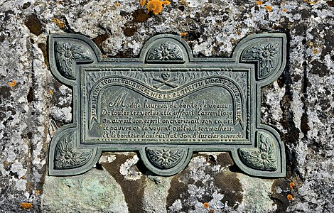 Carved plaque on a tombstone, with versified epitaph of Jeanne Delafaye (1774-1817). Country churchyard, France.