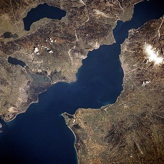 Gulf of Patras - Gulf of Patras from space, top is North-East