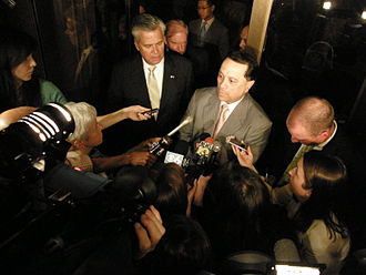 2009 New York State Senate leadership crisis - Pedro Espada and Dean Skelos address the media following the June 23 Special Senate session.
