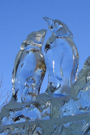 Ice sculpture on display during Winterlude in ...