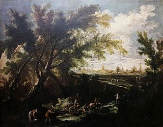 Landscape with a water carrier (detail).