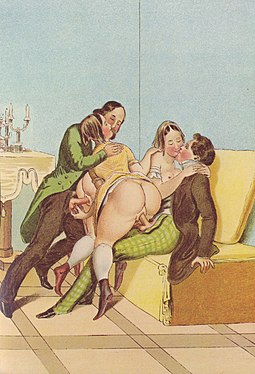 Peter Fendi portrayed group sex in lithography, c. 1834 PeterFendi Erotic Scene.jpg