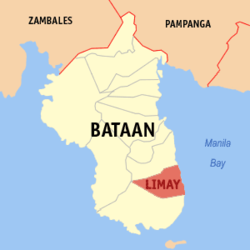 Map of Bataan with Limay highlighted