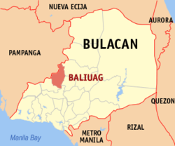 Map of Bulacan showing the location of Baliuag
