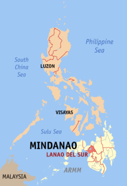 Map of the Philippines with Lanao del Sur highlighted