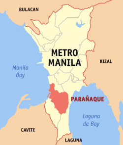 Map of Metro Manila showing the location of Parañaque City