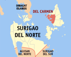 Map of Surigao del Norte showing the location of Del Carmen.