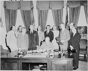Frederick Millar, 1st Baron Inchyra - Millar (first left) as U.S. President Harry S. Truman signs the North Atlantic Treaty (1949)