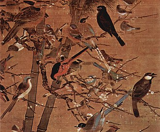 Ming dynasty painting - A painting of birds by Bian Wenzhi, 1413