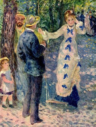 Les Orangers - The Swing, by Renoir shows a dappled treatment of light and shade.