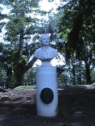 Pierre Poivre - Bust of Pierre Poivre in the Sir Seewoosagur Ramgoolam Botanical Garden in Mauritius.
