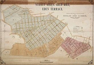 Eden Terrace - Plan of Surrey Hills, Arch Hill and Eden Terrace, circa 1880s