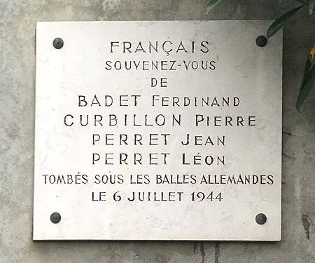 Plaque Résistance 1944 Saint-Martin-du-Mont..