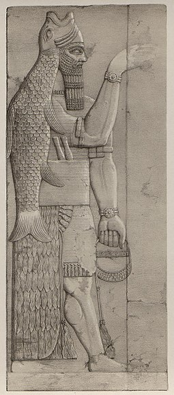 Los cabecitos de tiahuanaco 255px-Plate_6_fish_god_%28A_second_series_of_the_monuments_of_Nineveh%29_1853_%28cropped%29
