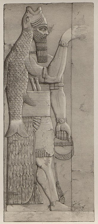 Apkallu - Image: Plate 6 fish god (A second series of the monuments of Nineveh) 1853 (cropped)