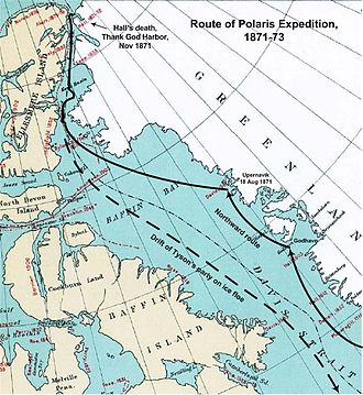 Polaris expedition - Route of the Polaris expedition, 1871–1873