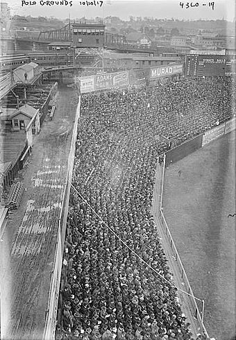 The Polo Grounds left field foul line with guide rope, as seen from upper deck, 1917 Polo Grounds 1917.jpg