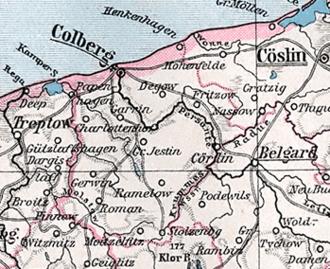 Landkreis Kolberg-Körlin - Contemporary map of Kolberg-Körlin.