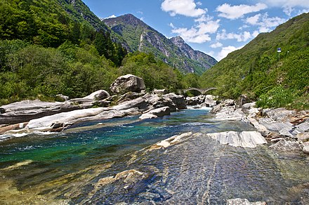 The Verzasca Valley (here near Lavertezzo) is the most central valley of Ticino
