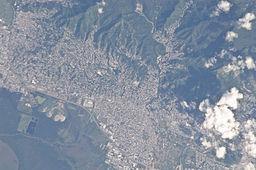 Satellitbild över Port of Spain. Oktober 2008