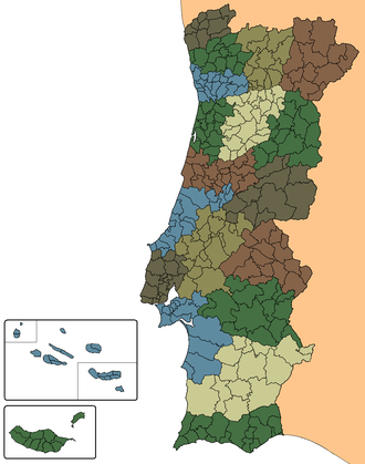 Municipalities of Portugal - Image: Portugal municipalities districts