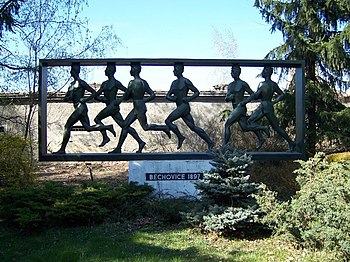 Prague, Běchovice, memorial to a running race.