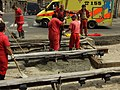 Praha, Smíchov, Na Knížecí, rekonstrukce trati v Nádražní ulici, betonování.JPG