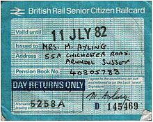 Pre APTIS Day Returns Only Version Of The Railcard From 1981