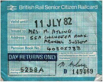 """Senior Railcard - Pre-APTIS """"Day Returns Only"""" version of the Railcard from 1981."""