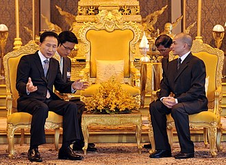 Norodom Sihamoni - King Norodom Sihamoni meeting with South Korean president Lee Myung-bak at the Royal Palace in 2009.