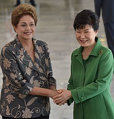 Brazilian president Dilma Rousseff and South Korean president Park Geun-Hye were both impeached in 2016 and removed from office. Presidente da Coreia do Sul, Park Geun-hye, visita o Brasil - c.jpg