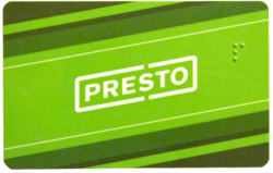 PRESTO card. Note the Braille letter P.