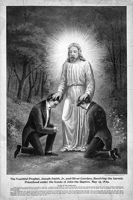 A 19th-century drawing of Joseph Smith and Oliver Cowdery receiving the Aaronic priesthood from John the Baptist. Latter Day Saints believe that the Priesthood ceased to exist after the death of the Apostles and therefore needed to be restored. Priesthood03080u.jpg