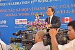 Prof., Dr. Nguyễn Văn Khánh, Rector of University of Social Sciences and Humanities, speaks at the Social Work Day event in Hanoi (8168678695).jpg