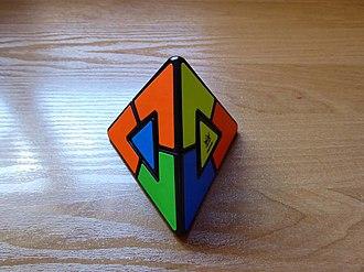 Pyraminx Duo - The Pyraminx Duo, scrambled.