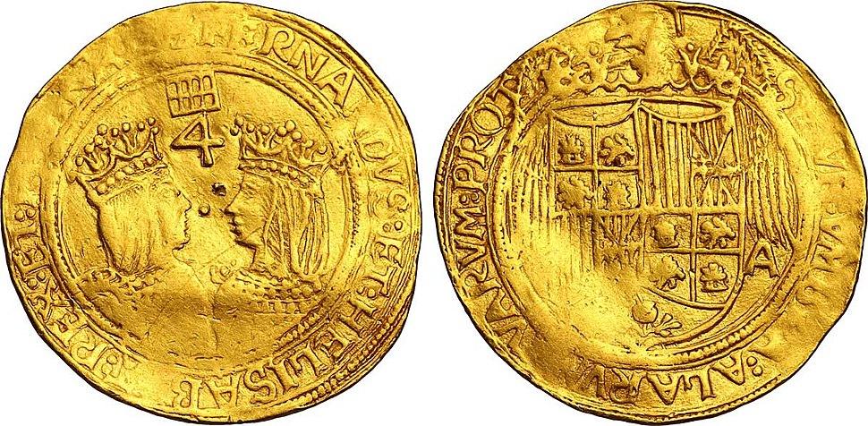 Quadruple en or à l'effigie d'Isabelle et Ferdinand les monarques catholiques
