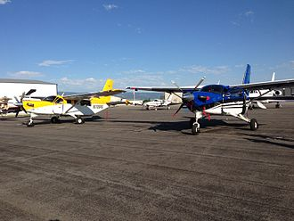 Flashline Mars Arctic Research Station - Two Quest Kodiaks and a Cessna 421 on the ground in Driggs, Idaho. Use of these private aircraft greatly enabled the 2013 FMARS expedition.