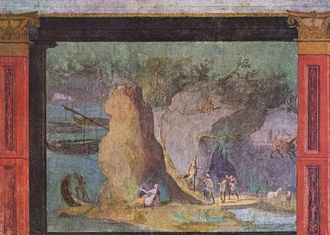 Landscape painting - Landscape with scene from the Odyssey, Rome, c. 60–40 BCE