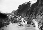 RAF Bristol Beaufighters from the Dallachy Wing attacking enemy vessels sheltering beneath the 3,000ft cliffs of Sognefjord in Norway, 23 April 1945. C5274.jpg