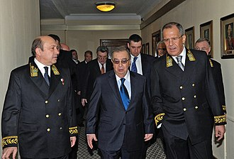 Ministry of Foreign Affairs (Russia) - (From Right:) Minister Sergei Lavrov with former Ministers Yevgeny Primakov and Igor Ivanov.