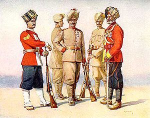 13th Rajputs (The Shekhawati Regiment) - A painting depicting members of the Rajputanta Rifles, of all ranks and uniforms. circa. 1911