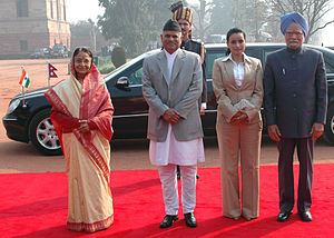 Ram Baran Yadav - Ram Baran Yadav and Anita Yadav with the President of India, Pratibha Devisingh Patil and the Prime Minister, Manmohan Singh