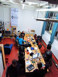 Hackerspace community-operated physical space where people with common interests, often in computers, technology, science, or art, can socialise, collaborate, or make
