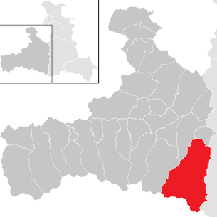 Location of the municipality of Rauris in the Zell am See district (clickable map)