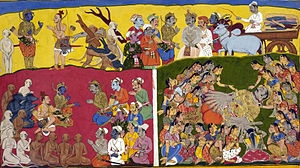 Mandodari - While preparations for Ravana's funeral are underway, Ravana's wives headed by Mandodari (with her back to the viewer, upbraiding her hair) lament his death.