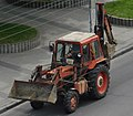 Red tractor with blade and bucket, Dnipro; 11.07.19.jpg