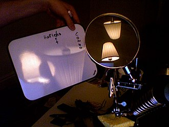 Lens (optics) - Real image of a lamp is projected onto a screen (inverted). Reflections of the lamp from both surfaces of the biconvex lens are visible.