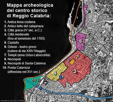 Mappa archeologica del centro storico di Reggio Calabria (Gentile concessione)